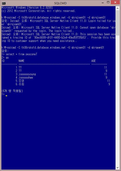 Azure_Camp_6_008_SQL데이터베이스_1번선택_SQL데이터베이스디자인_07_sqlcmd_연결_03.png
